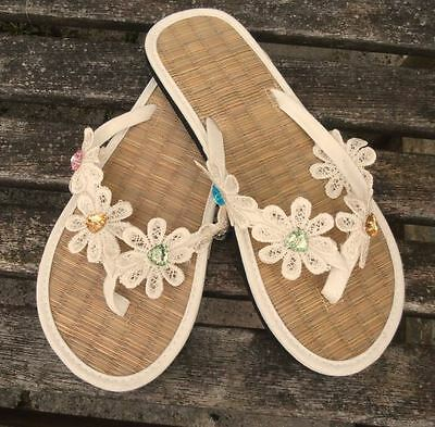 Ladies Straw Ivory Flip Flops for Wedding or Beach - Flip Flops For Weddings