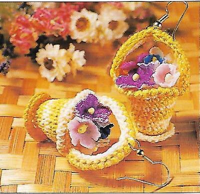 Flower Basket Earrings crochet PATTERN INSTRUCTIONS