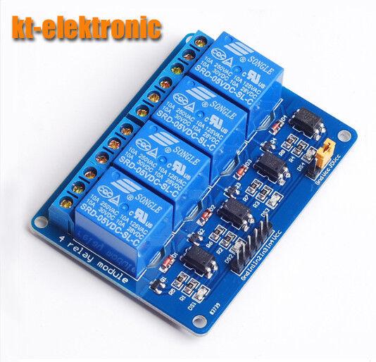 4-Kanal Relais Modul 5V Optokoppler Relaiskarte Relaisplatine Arduino 230V