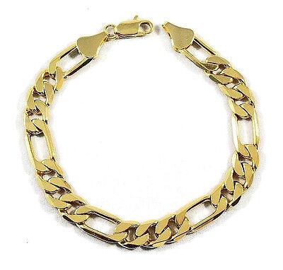 Mens Gold Figaro Bracelet - MENS 10MM 14K GOLD PLATED PREMIUM QUALITY ITALIAN FIGARO LINK CHAIN BRACELET