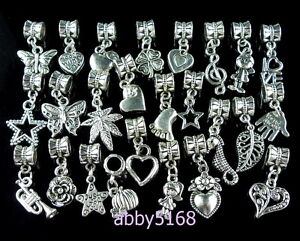 25pcs Tibetan Silver Mixed Dangle Charm Fit European Bracelet ZN03