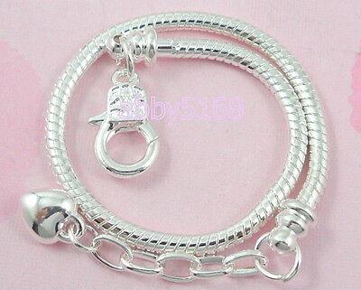 Snake Bracelets (10pcs Snake Chain Lobster Clasp Silver /P Charm Bracelets Fit European Bead)