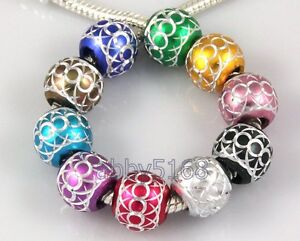 100pcs Bulk Lots Carved ALUMINIUM Beads Fit Bracelet LZ15