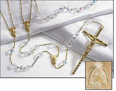 Crystal Lasso Wedding Rosary (RC859) NEW 45 Inches Long