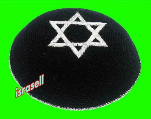 BLACK KIPPAH WITH SILVER STAR OF DAVID - jewish knitted yarmulka/yarmulke