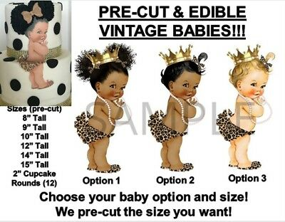 PRE-CUT Leopard Cheetah Princess Baby EDIBLE Cake Topper Image Animal Print Baby](Cheetah Print Cake)