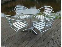 Aluminium coffee table and chairs