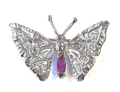 14 Karat White Gold Genuine Diamond and Ruby Detailed Butterfly Brooch Pin P467