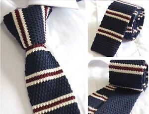 2-Vintage-Knit-Knitted-Slim-Wedding-Flat-Tie-Narrow-Necktie-Navy-Blue-Stripe