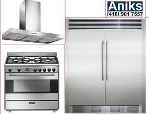 "Electrolux IQ-Touch EI32AR80QS-EI32AF80QS 64in All- Refrigerator All Freezer. Smeg 36"" Dual Fule Range and hood"