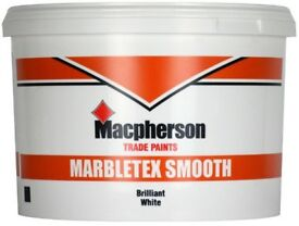 10L LITRES MACPHERSON MARBLETEX MASONRY SMOOTH BRILLIANT WHITE PAINT TRADE