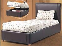 BRAND NEW - Single Storage Leather Bed Ottoman with SEMI ORTHOPAEDIC Mattress- SAME/NEXT DAY