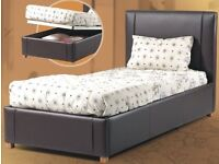 BRAND NEW - Single Storage Leather Bed Ottoman with 8inch Economy ECO-Sprung Mattress- SAME/NEXT DAY