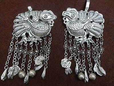 Beautiful Guizhou Miao Silver Handmade Birds Pendant Pair W1277