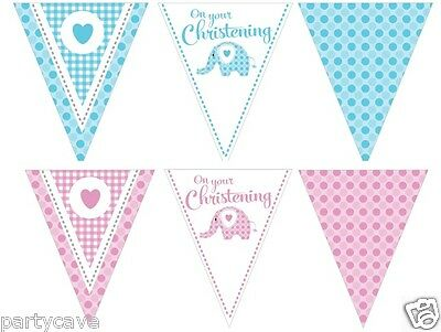 CHRISTENING BABY BOYS GIRLS PARTY SWEET ELEPHANT PENNANT FLAG BANNER DECORATION