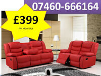 Black 3 and 2 seater recliner sofa