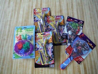 6 toys Light Up Spinner, Jumpin Frogs, Marvel Avengers & Spider Man Paddle Ball