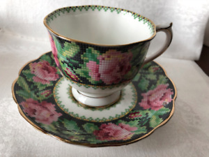 CUP AND SAUCER, NEEDLE POINT, ROYAL ALBERT CHINA, ENGLAND.