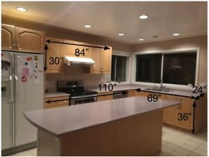 Kitchen Cabinets, Island, and Appliances