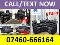 leather 3 and 2 seater recliner sofa