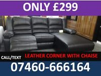 330 nEW 3 and 2 seater leather recliner sofa