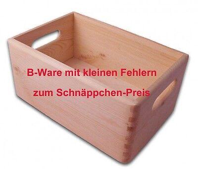 B-Ware, offene Aufbewahrungsbox/ Holzkiste mit Grifflöchern Kiefer unbeh., Gr. 1