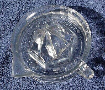 Excellent Large A.S.Co. antique embossed GOOD MORNING ORANGE JUICER glass REAMER