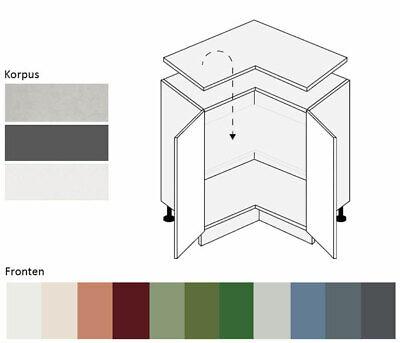 Küchenschrank Eck Unterschrank Hochglanz lackiert Farbe wählbar (FL-D12/90)
