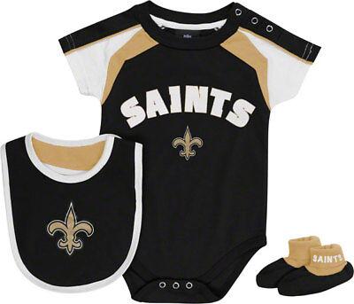 - New Orleans Saints 3pc Creeper Bib Booties Set Infant Baby Black