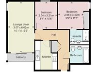 Prospect Place: Two Double Bedroom Apartment En Suite Shower, Lounge With Balcony