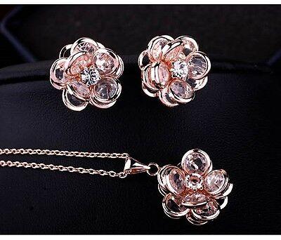 Set Joyas Collar Pendientes Rosa Dorado 18k Chapado Cristal IDEA DE REGALO segunda mano  Embacar hacia Argentina
