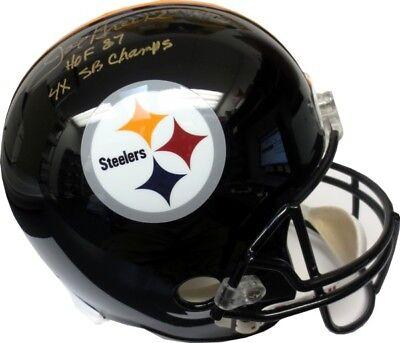 165367c88e6 Joe Greene 4x SB Champs Autographed Steelers Black Full-Size Replica Helmet  JSA
