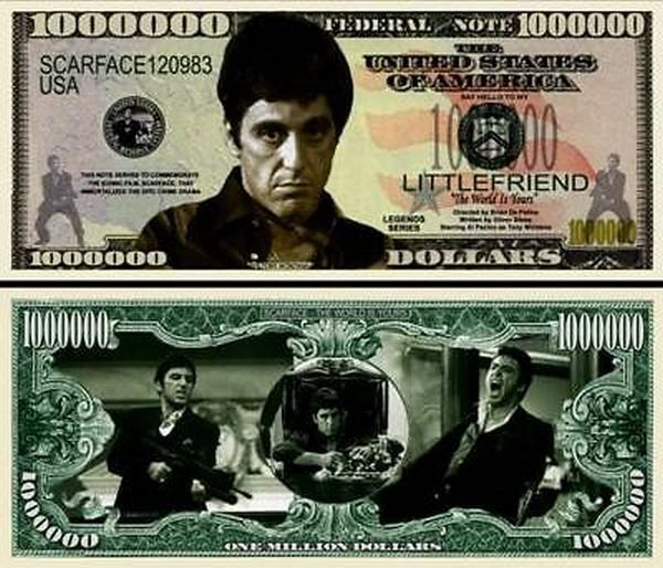 ScarFace Al Pacino Million Dollar Bill Fake Play Funny Money Novelty FREE SLEEVE