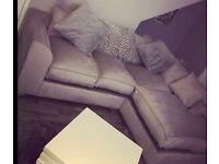 Silver plush corner sofa