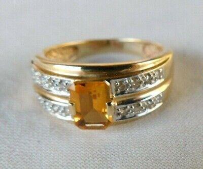 14K Yellow Gold Citrine Diamond Ring - 4.6 grms, Size 8, 1.0 ctw Ctw Citrine Ring