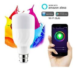 WiFi Smart Bulb, Works with Alexa and Google Home, LED Colour Changing RGB Dimmable B22 Bayonet 60W