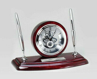 Desk Clock Double Silver Desk Pen Set With Da Vinci On Cherry Wood Base Gift