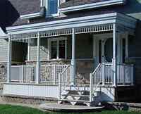rampe d'aluminium, balcon, marche, rampe vitrée, revêtement