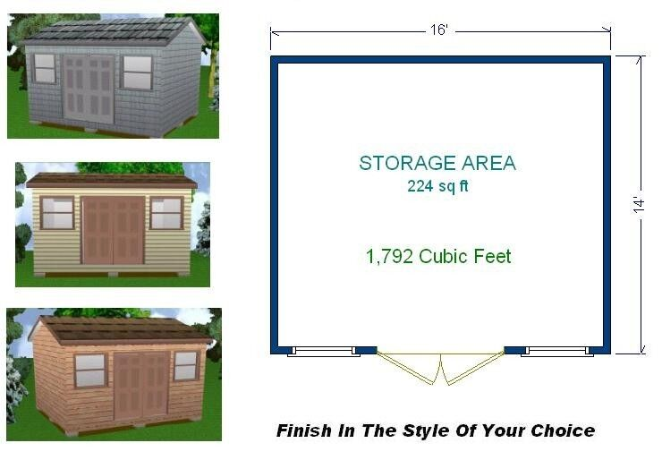 14x16 storage shed plans package blueprints material for Shed plans and material list