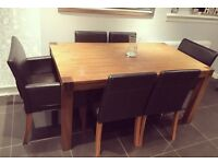 Solid oak dining table & 6 leather chairs