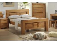 Solid oak furniture set, king size bed, wardrobe, chest of drawers and bed side table