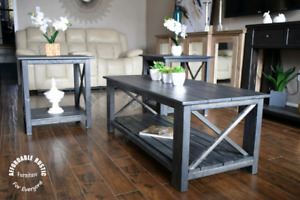 Rustic coffee table and end tables set