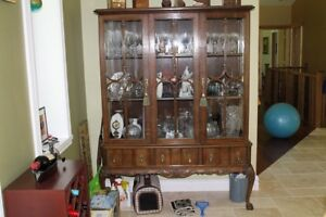 Price drop, solid oak and walnut, dinning set, antique