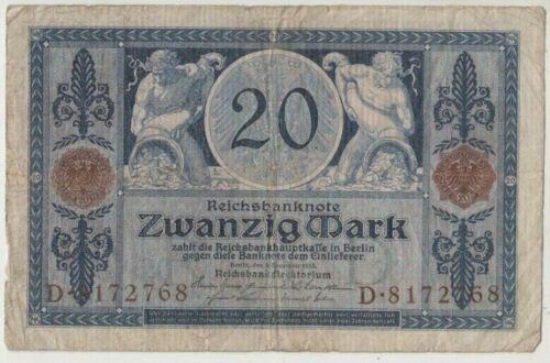 Banknote 1915 Germany 20 marks prefix D8172768