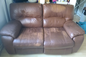 DFS brown real hide leather 2 seater electric recliner sofa