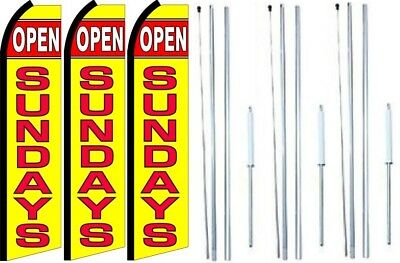 Open Sundays Swooper Flag With Complete Hybrid Pole Set- 3 Pack