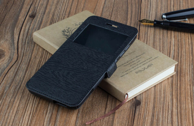 COVER CASE BOOK WINDOW DOOGEE X5 MAX PRO TOUCH WOOD WINDOW BLACK