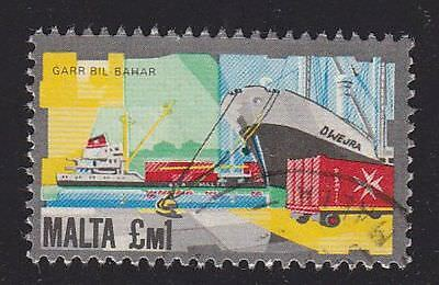Malta # 606 Boat Ship used high value 1 pound