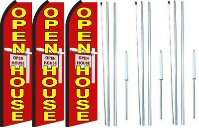 Open House Swooper Flag With Complete Hybrid Pole Set- 3 Pack