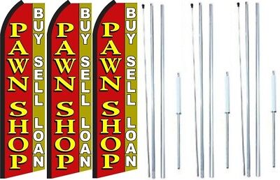 Pawn Shop Buy Sell Loan Swooper Flag With Complete Hybrid Pole Set- 3 Pack